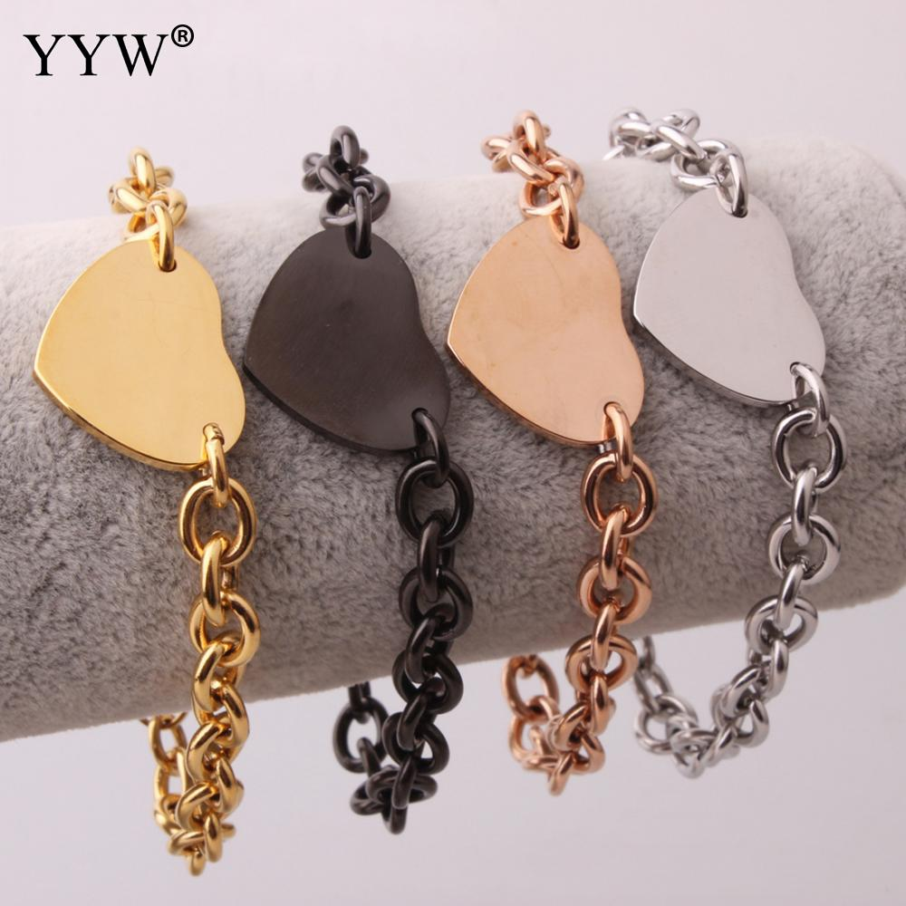Stainless Steel Jewelry Bracelet Beautiful Gold Sliver Black Love Heart Plated Charming Oval Chain For ValentineS Gift