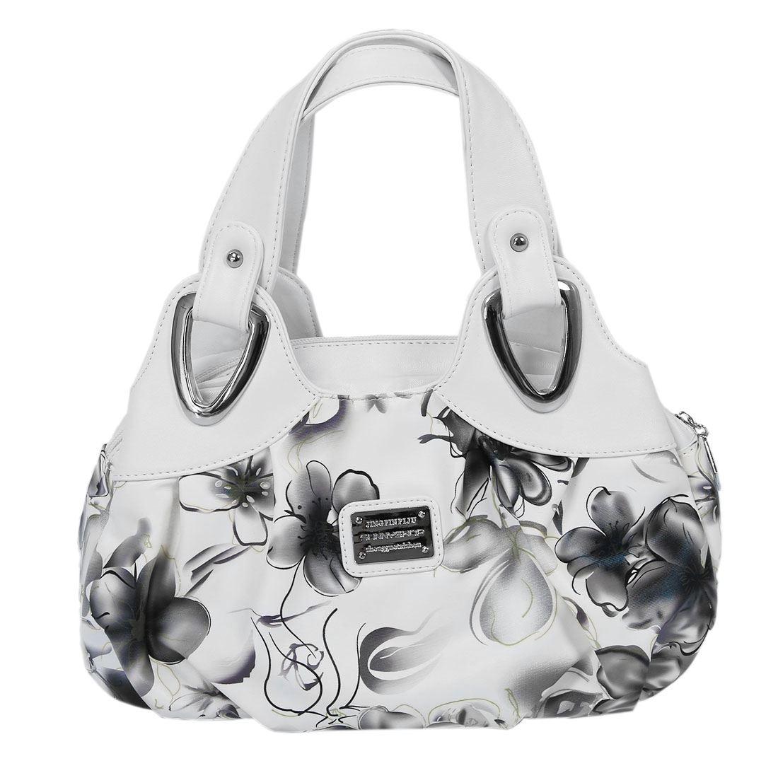 Fashion handbag Women PU leather Bag Tote Bag Printing Handbags Satchel -Ink gray flower + white HandstrapFashion handbag Women PU leather Bag Tote Bag Printing Handbags Satchel -Ink gray flower + white Handstrap