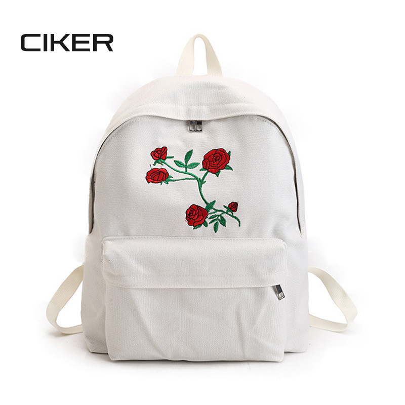 CIKER Women canvas backpack cute fashion rose printing backpacks for teenagers women's travel bags mochilas rucksack school bags ciker new preppy style 4pcs set women printing canvas backpacks high quality school bags mochila rucksack fashion travel bags