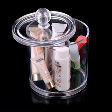 Fashion Women Acrylic Clear cylinder Display Box Makeup Organizer Cosmetic canister with cover Jewelry Storage Holder stand