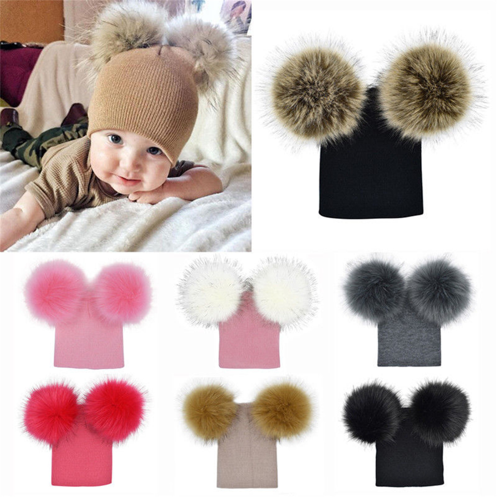 a4b41d92a94 Baby Kids Warm Autumn Winter Wool Knit Beanie Bobble Hats Caps With Two Fur  Pompom Ball Beanie Kids Hat Cotton Soft Cute Cap