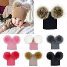 Bebé niños cálido otoño invierno de punto de lana Beanie gorras con dos piel  pompón bola sombrero niños sombrero de algodón suav. 71fb7cd3039
