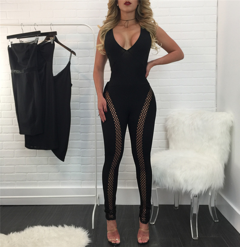 Sexy Sleeveless V-Neck Lace-Up Black Summer Jumpsuit Romper Hollow Out Party Bodycon Bodysuit Overalls Women Clubwear Long Pants