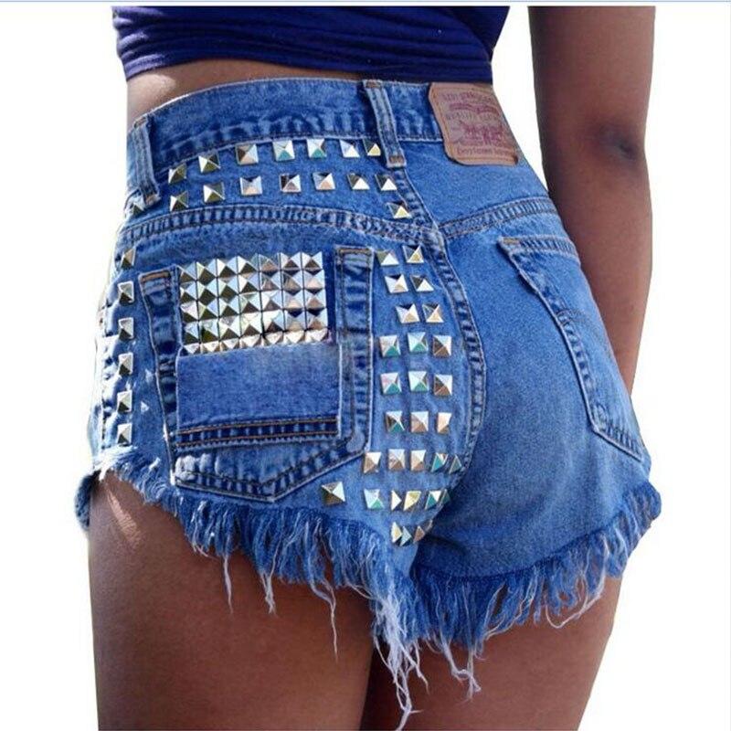 CWLSP 2018 Women's Vintage Tassel Rivet Ripped High Waisted Short Jeans Fashion Sexy Woman Denim Shorts Plus size 3XL QL2128