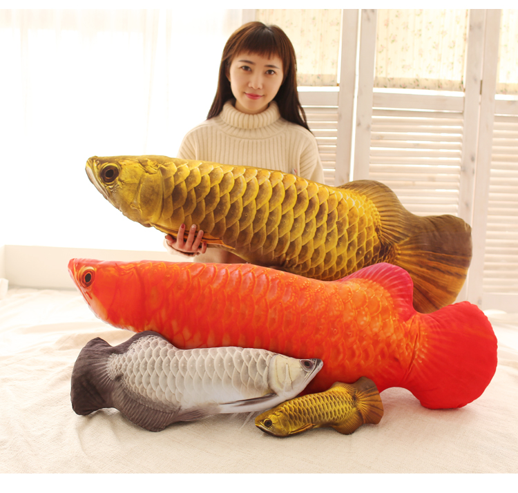 Candice guo Creative plush toy funny Simulation Gold Arowana Golden dragon fish doll cushion sofa pillow birthday gift 1pc stuffed animal 44 cm plush standing cow toy simulation dairy cattle doll great gift w501