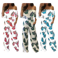 Women elegant sexy hot jumsuits & rompers streetwear fashion leaf spring summer jumpers European and American style for ladies