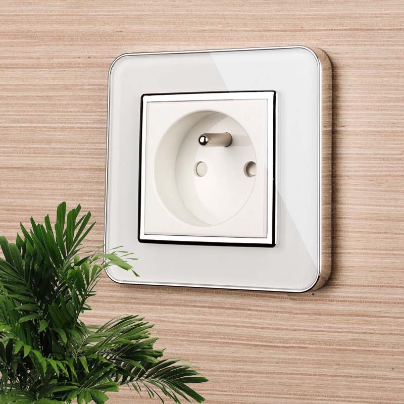 Jiubei New Outlet,French Standard Wall Power Socket,White Crystal Glass Panel, AC 100~250V 16A,SV-C7FR-11