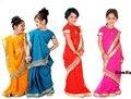 Национальной Индийской Одежды Дети Сари Платье Классический Жоржет Блестка Дети Сари 8 Размеры Бесплатная Доставка
