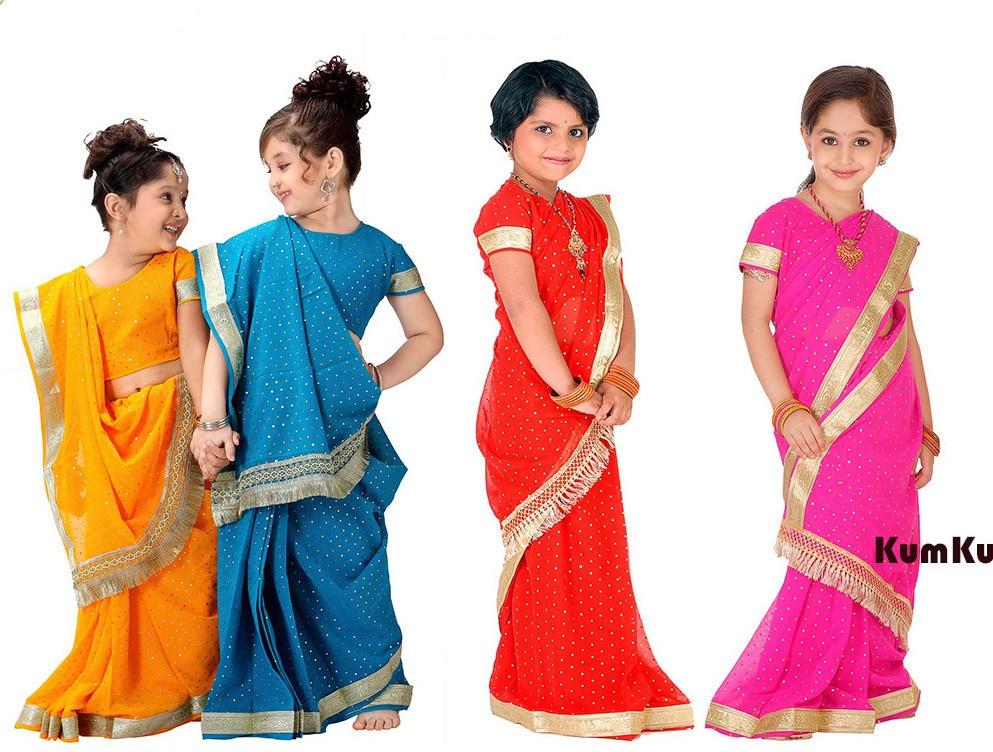 National Indian Clothing Children Sari Dress Classic