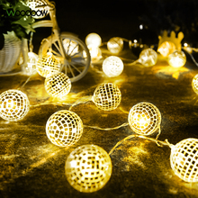String Light Decor-Bar Ballroom Battery-Powered Holiday Party 20LED Disco Woodpow Flash-Mirror-Ball