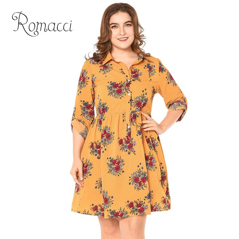 95aa83a9318 Romacci Women Plus Size Shirt Dress Floral Print Rolled Long Sleeve Autumn  Dress Turn Down Collar Buttons Pleated Midi One Piece-in Dresses from  Women s ...