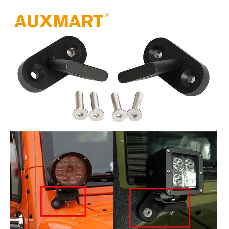 Auxmart Car LED Lamp Holder for Jeep Wrangler 2007~2017 Work Light Mount Brackets Auto Offroad fog Light Mounting Light Bar 2pcs car styling top mount hardtop rear grab handle bar front rear interior parts metal for jeep wrangler 2007 later