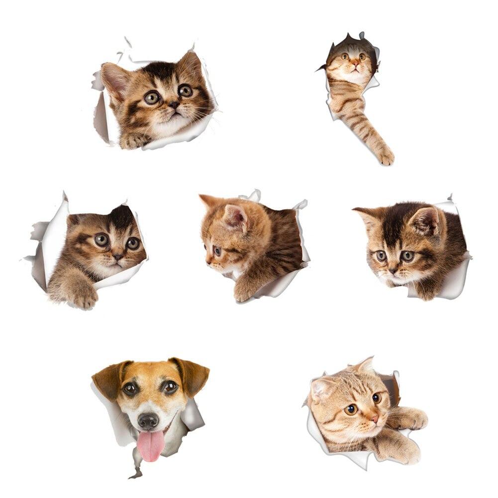 1 шт. 3D кошки собаки Panda Pet стены Стикеры Туалет Стикеры s отверстие вид собак Ванная комната украшения животных наклейки мультфильм переключ...