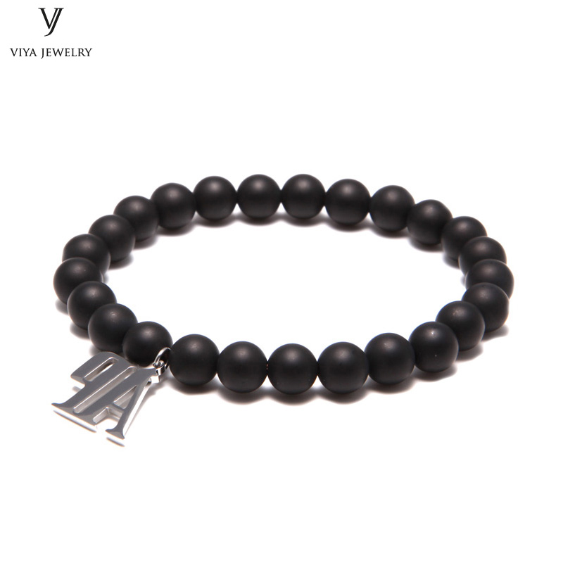 6mm 8mm Matt Black Onyx Beads Beaded Bracelet With Silver AP Charms luxury AAA Grade Ges Beads Strand Stretch Bracelet For Men все цены