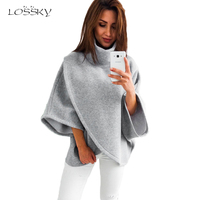 Lossky 2017 Winter Asymmetrical Warm Turtleneck Oversized Hoodies Sweatshirt Women Casual Loose Flare Sleeve Pullovers Female