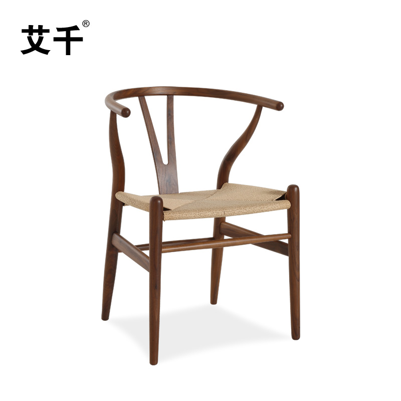 ai qianhei walnut y chair simple modern chinese style solid wood dining chair armchair chair y ch177 natural side chair walnut ash