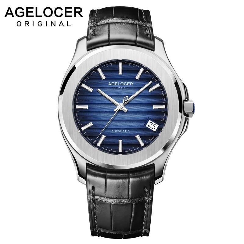 AGELOCER Suisse Hommes Montre Top Marque De Luxe Mâle En Cuir Étanche Sport Automatique Montre-Bracelet Mécanique Hommes Horloge relogio