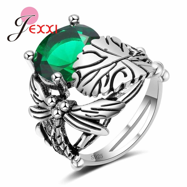 JEXXI Wholesale Retro S90 Silver Party Rings For Women Girls Accessory Oval Crys
