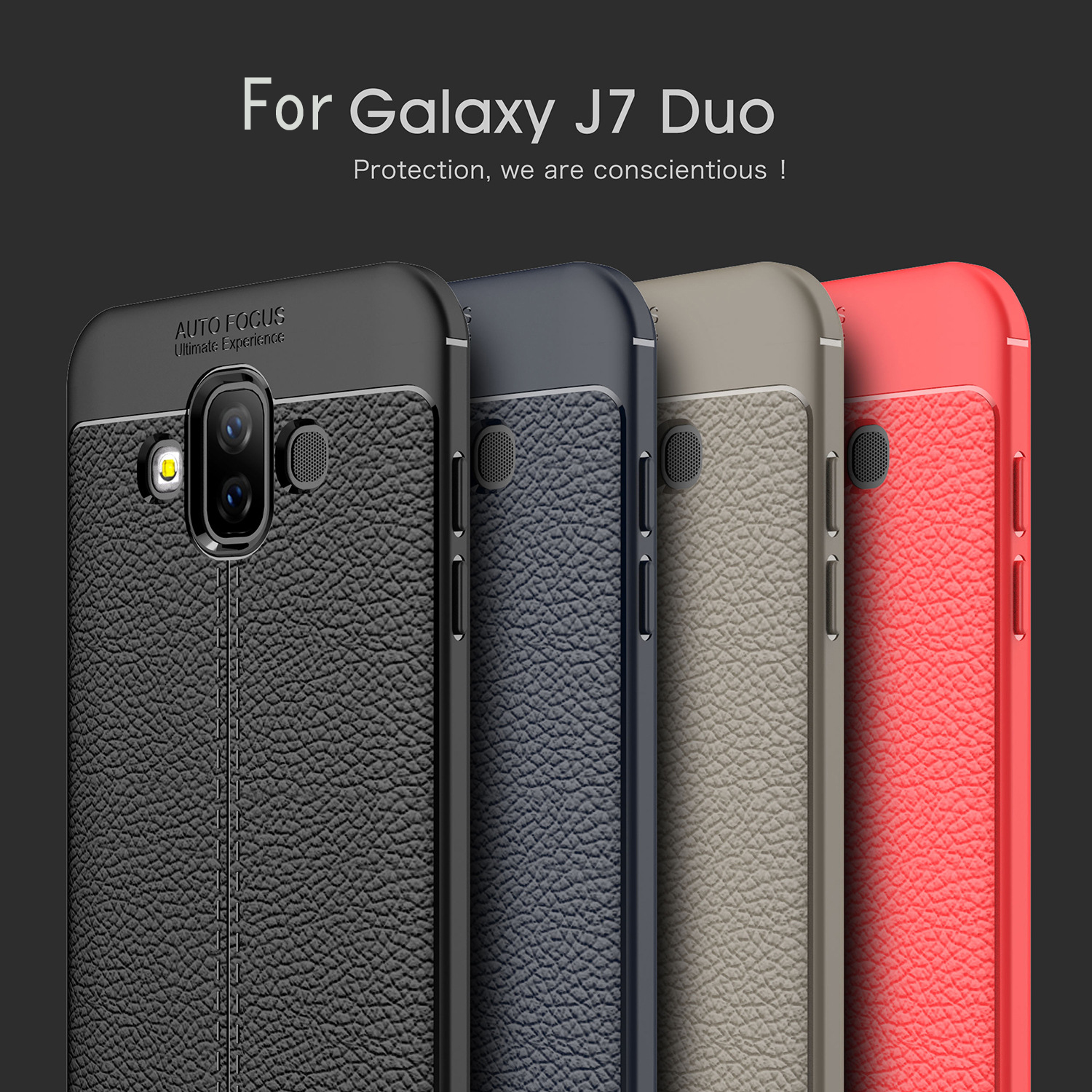 For Samsung Galaxy J7 Duo Case Luxury Leather texture Soft Silicone Protective back cover case