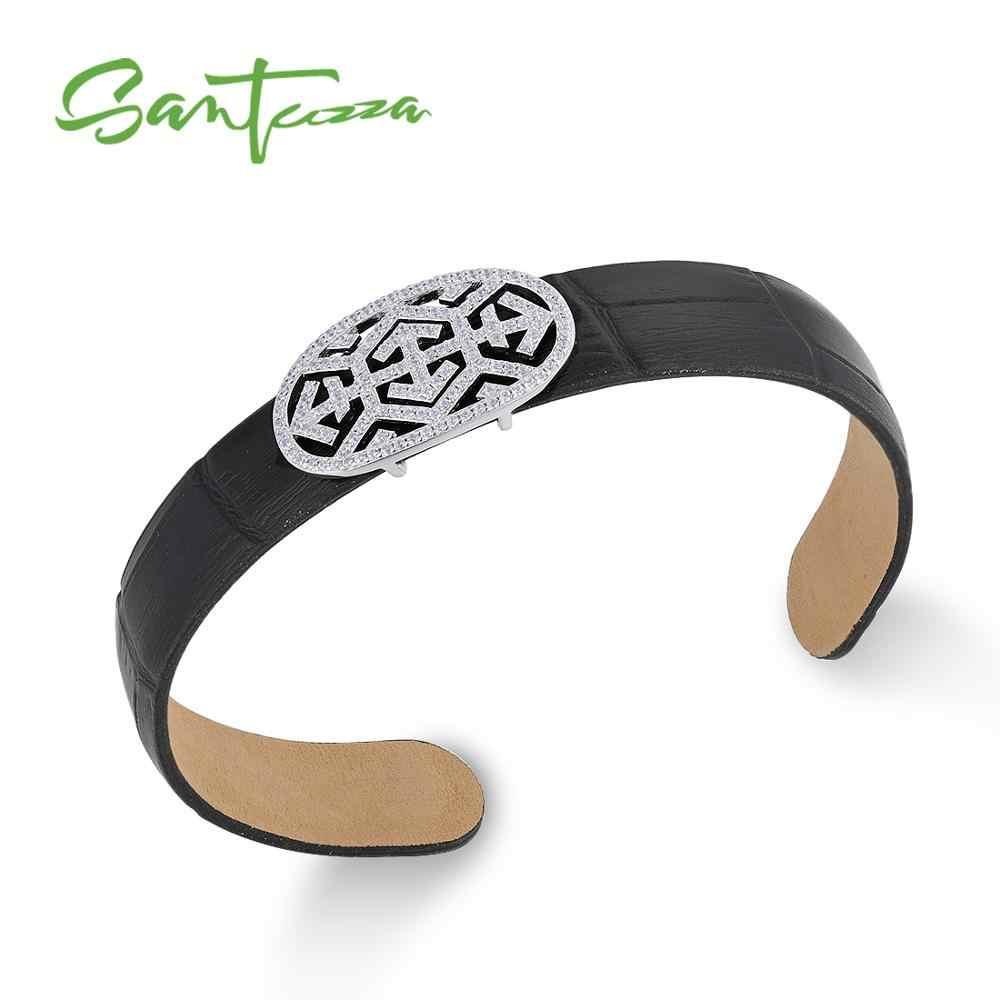 SANTUZZA สร้อยข้อมือเงินกำไลข้อมือสำหรับผู้หญิง 925 เงินสเตอร์ลิงกำไลข้อมือหนังแท้สีดำ CHIC แฟชั่นเครื่องประดับ