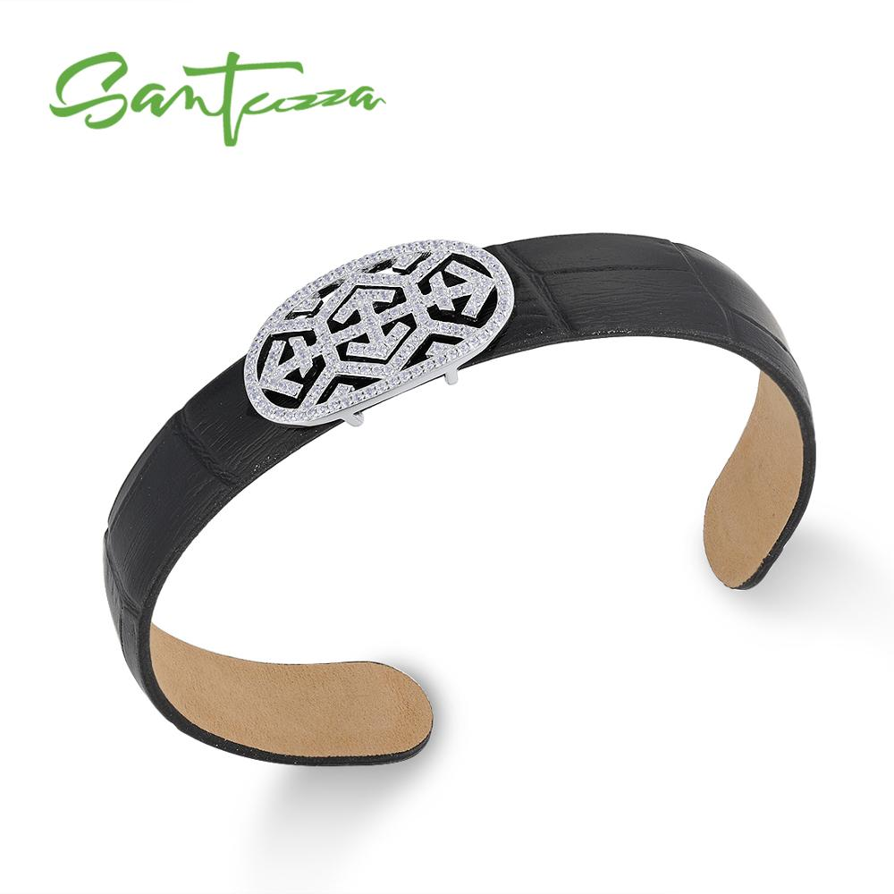 SANTUZZA Silver Bracelet Bangle for Women Men 925 Sterling Silver Adjustable Bangle Black Genuine Leather Chic Fashion Jewelry chic faux leather woven bracelet for men