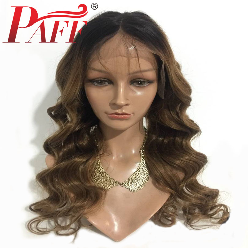 PAFF Ombre Color 250% High Density Lace Front Human Hair Wigs Body Wave Brazilian Remy Hair Pre Plucked Wig With Baby Hair