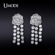 UMODE Simulated Diamond Dangle Earrings For Women 2016 New White Gold Pendientes Mujer Moda Christmas Gifts Bijouterie AUE0229