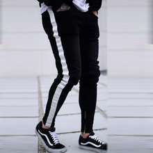 Men Skinny Fear of god Knee Hole Side Zipper Slim Distressed Ripped Jeans Men Ripped tore Jeans For Men stripe Dropshipping(China)