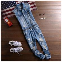 2017 New Men's denim overalls Men Casual jeans Jumpsuits for Men with Holes Shorts sleeve denim overalls 021407