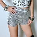 Glittering Sexy Moda Feminina Skinny Prata Festa De Lantejoulas Cintura Alta Shorts Mulheres de Slim Shorts para Venda