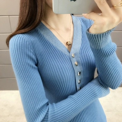 New 2019 spring and autumn v-neck button with bright silk stretch knit Sweater Price $14.90