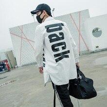 Уличная танцевальная длинная Стильная мужская рубашка с принтом и изогнутым подолом, мужская повседневная рубашка в стиле хип-хоп, рубашка Elong Justin Bieber