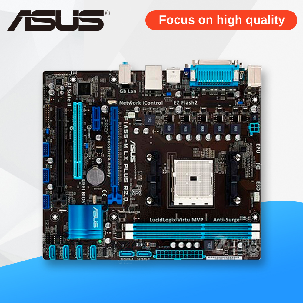 Asus F1A55-M LX PLUS R2.0 Desktop Motherboard A55 Socket FM1 DDR3 32G SATA2 USB2.0 uATX asus p8h61 m lx original asus h61 m motherboard socket lga 1155 uatx ddr3 dvi vga usb2 0 16gb desktop mainboard