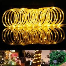 Светодиодный ная гирлянда на солнечной батарее, медный провод, лампа в виде трубки, наружный фонарь для сада, улицы, дома, дерева, 10 м