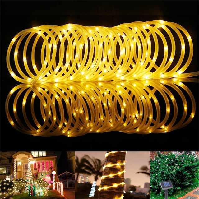 10M LED Solar Powered String Fairy Light Copper wire Tube Light Outdoor Decorative Holiday Lighting For Garden Street House Tree