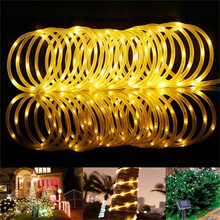 Cadena de luces LED alimentada por energía Solar de 10M, luz de tubo de alambre de cobre ligero para exteriores, iluminación decorativa para vacaciones, jardín, calle, casa, árbol