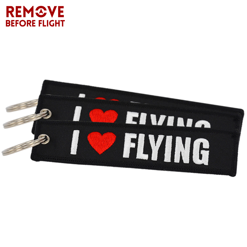 5 PCS/LOT I LOVE FLYING Key Ring Chains Car Key Holder OEM Keychain Jewelry Embroidery Keychain For Aviation Gifts Luggage Tags