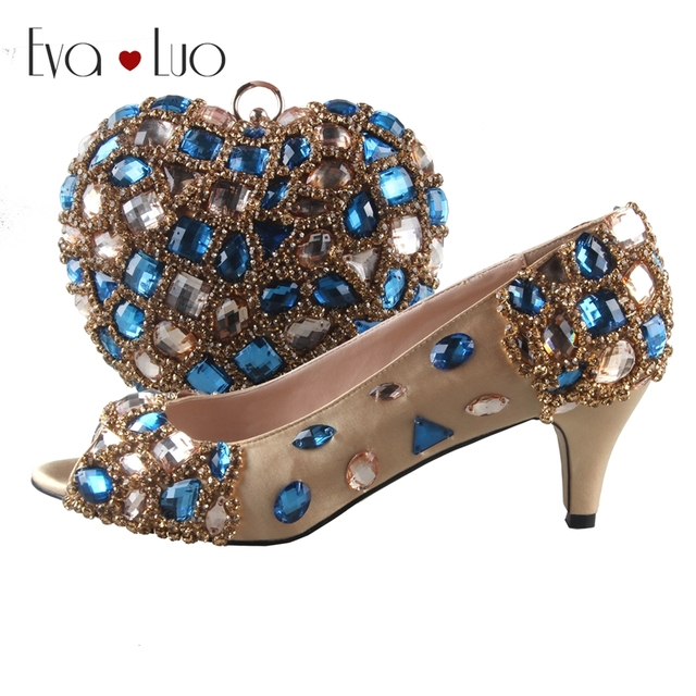 8d7f357f75 BS815 DHL Custom Made Royal Blue Gold Crystal Italian Shoes With Matching  Bag Set Low Heel Open Toe Women Shoes Dress Pumps