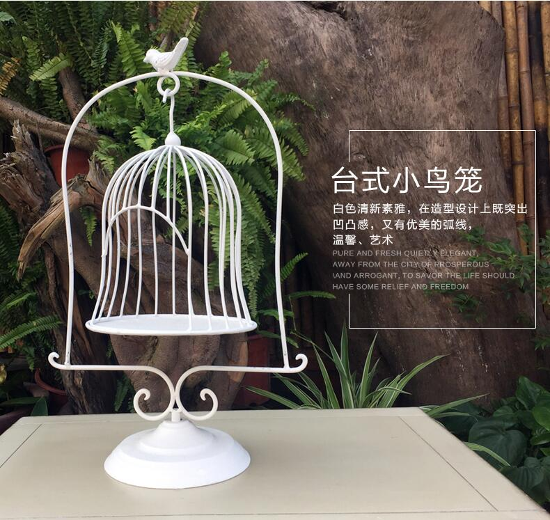European style iron art floor table decorated birdcage window for wedding props.