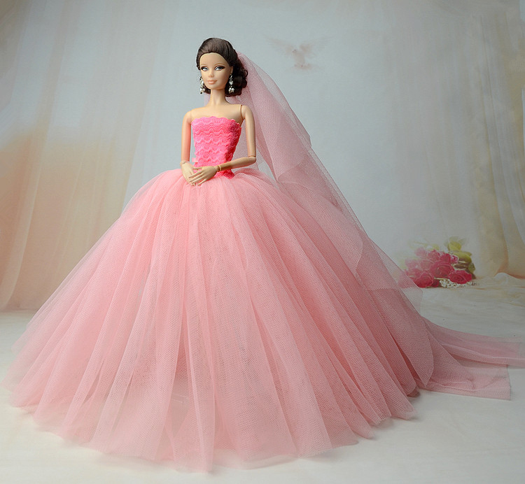 NK-Doll-Dress-High-quality-Handmade-Long-Tail-Evening-Gown-Clothes-Lace-Wedding-Dress-Veil-For-Barbie-16-Doll-Best-Gift-2
