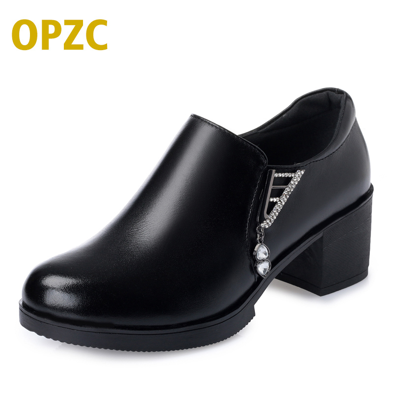 OPZC women's low-heeled shues spring. 2018 new, big size 41 genuine leather women's shoes. Dress sexy party shoes women aiyuqi big size 41 42 43 women s comfortable shoes 2018 new spring leather shoes dress professional work mother shoes women