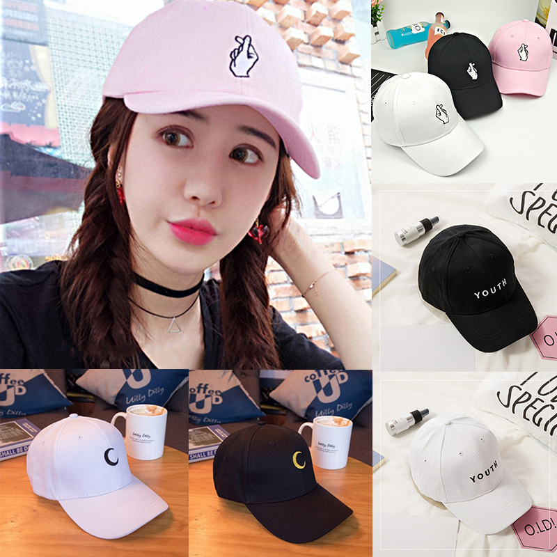 New Arrival Unisex Women Men Finger Moon YOUTH Peaked HipHop Cap Adjustable Black White Pink Baseball Hat hot sale adjustable men women peaked hat hiphop adjustable strapback baseball cap black white pink one size 3 colors dm 6