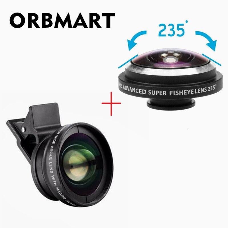 ORBMART Clip Lustige Kamera-objektiv-kit 0.45x Super Weitwinkel Objektiv + 12.5x Super Makro-objektiv + 235 Fischaugen-objektiv Handy Linse