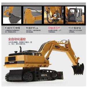 Image 4 - HuiNa אלחוטי שלט רחוק חשמלי סגסוגת חופר דחפור 11 ערוצים 1:16 2.4Ghz ילדי צעצוע רכב מהנדס רכב משאית