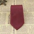 "Men's Tie Jacquard Woven Necktie 100% Silk Style 3.15"" Width Dark Red Grid JS14"