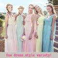 Dusty Azul Da Dama de Honra Vestidos de Chiffon de Inverno Queda Vestido Barato Vestido do Baile Vestido De Festa De Casamento Da Dama de honra Longo-Party-vestido