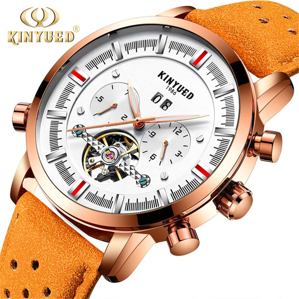 все цены на 2017 KINYUED Business Mechanical Watches Mens Skeleton Tourbillon Automatic Watch Men leather Calendar Waterproof Relojes Hombre