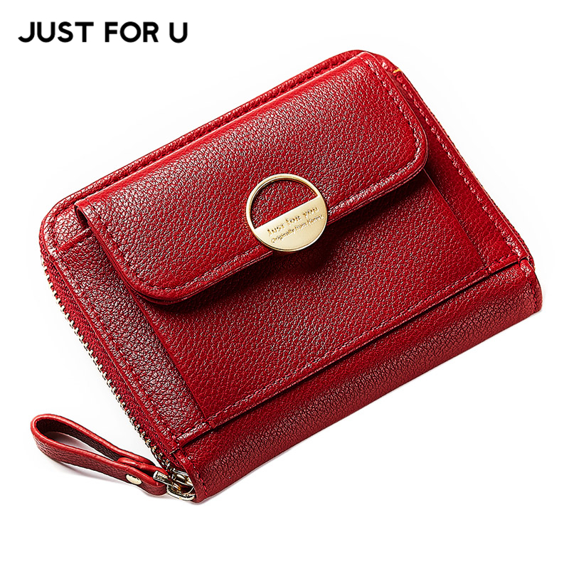 JUST FOR U New Zipper Small Clutch Wallet For Women Leather Hasp Coin Pocket Bag Female Solid Card Holder Brand Lady Girls Purse цена и фото
