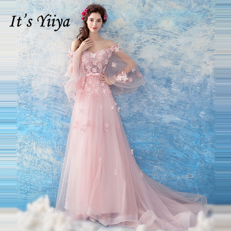 It's Yiiya   evening     dress   Long Sleeve Boat Neck Flower Hollow Out Lace Up Flower Formal   Dress   for Party   Evening     Dresses   LX890