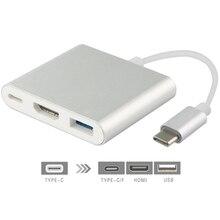 """TUTUO USB 3.1 Type C naar HDMI Adapter 4 K USB 3.0 HUB USB C Kabel Snelle PD Poort Opladen voor Nieuwe MacBook 12 """"/Chromebook Pixe Etc."""